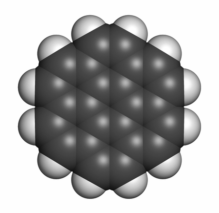 fused: Coronene polyaromatic hydrocarbon (PAH) molecule. 3D rendering. Atoms are represented as spheres with conventional color coding: hydrogen (white), carbon (grey).