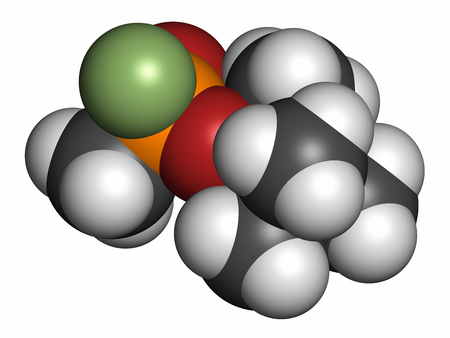 wmd: Soman nerve agent molecule (chemical weapon). 3D rendering. Atoms are represented as spheres with conventional color coding: hydrogen (white), carbon (grey), oxygen (red), phosphorus (orange), fluorine (light green).