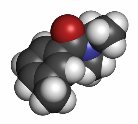 DEET (diethyltoluamide, N,N-Diethyl-meta-toluamide) insect repellent molecule. 3D rendering. Atoms are represented as spheres with conventional color coding: hydrogen (white), carbon (grey), oxygen (red), nitrogen (blue).