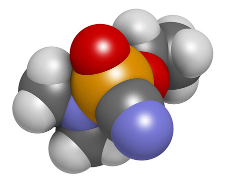 Tabun nerve agent molecule (chemical weapon). 3D rendering. Atoms are represented as spheres with conventional color coding: hydrogen (white), carbon (grey), oxygen (red), phosphorus (orange), nitrogen (blue).