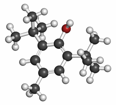 carcinogenic: Butylated hydroxytoluene (BHT) antioxidant molecule. 3D rendering. Atoms are represented as spheres with conventional color coding: hydrogen (white), carbon (grey), oxygen (red).