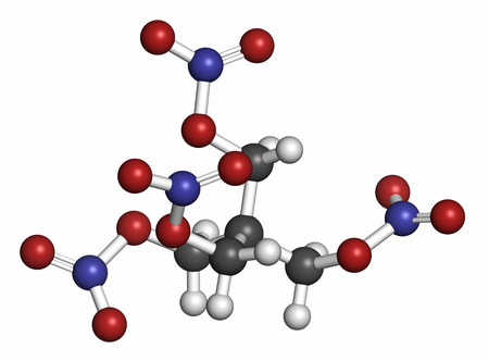angina: Pentaerythritol tetranitrate (PETN) explosive molecule. Also used as angina drug (nitrate class). 3D rendering. Atoms are represented as spheres with conventional color coding: hydrogen (white), carbon (grey), oxygen (red), nitrogen (blue). Foto de archivo