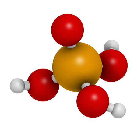 phosphorus: Phosphoric acid mineral acid molecule. Used in fertilizer production, biological buffers, as food additive, etc. 3D rendering. Atoms are represented as spheres with conventional color coding: hydrogen (white), oxygen (red), phosphorus (orange).