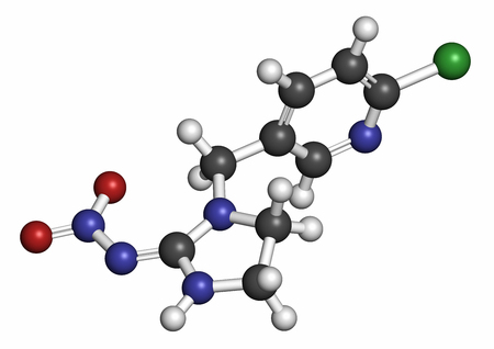 nitrogen: Imidacloprid neonicotinoid insecticide. Insect neurotoxin that may contribute to honey bee colony collapse disorder. 3D rendering. Atoms are represented as spheres with conventional color coding: hydrogen (white), carbon (grey), nitrogen (blue), oxygen (r Stock Photo