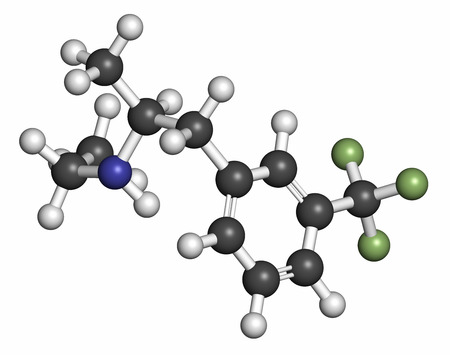 fibrosis: Fenfluramine weight loss drug molecule (withdrawn). 3D rendering. Atoms are represented as spheres with conventional color coding: hydrogen (white), oxygen (red), nitrogen (blue), fluorine (green).