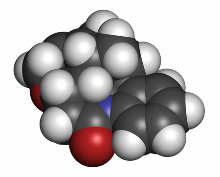 Strychnine poisonous alkaloid molecule. Isolated from Strychnos nux-vomica tree. 3D rendering. Atoms are represented as spheres with conventional color coding: hydrogen (white), carbon (grey), oxygen (red), nitrogen (blue).
