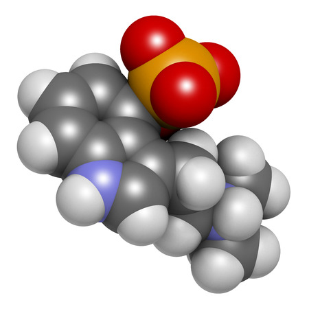 white phosphorus: Psilocybin psychedelic mushroom molecule. Prodrug of psilocin. 3D rendering. Atoms are represented as spheres with conventional color coding: hydrogen (white), carbon (grey), oxygen (red), nitrogen (blue), phosphorus (orange). Stock Photo