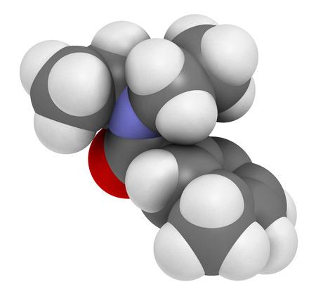 DEET (Diethyltoluamid, N, N-Diethyl-meta-toluamid) Insektenschutzmittel-Moleküls. 3D-Rendering. Wasserstoff (weiß), Kohlenstoff (grau), Sauerstoff (rot), Stickstoff (blau): Atome werden als Kugeln mit herkömmlichen Farbcodierung dargestellt. Standard-Bild