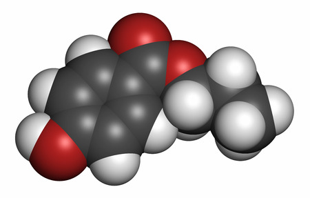 Propylparaben preservative molecule (paraben class). 3D rendering. Atoms are represented as spheres with conventional color coding: hydrogen (white), carbon (grey), oxygen (red).