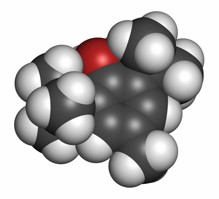 toxicity: Butylated hydroxytoluene (BHT) antioxidant molecule. 3D rendering. Atoms are represented as spheres with conventional color coding: hydrogen (white), carbon (grey), oxygen (red).