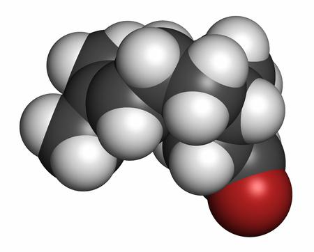 hidrógeno: Citronelal molécula de aceite de citronela. Se utiliza en los repelentes de insectos. representación 3D. Los átomos se representan como esferas con codificación de colores convencionales: hidrógeno (blanco), carbono (gris), oxígeno (rojo).