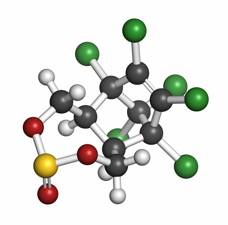 toxicity: Endosulfan insecticide molecule. Banned in many countries due to toxicity. 3D rendering. Atoms are represented as spheres with conventional color coding: hydrogen (white), carbon (grey), oxygen (red), chlorine (green), sulfur (yellow).