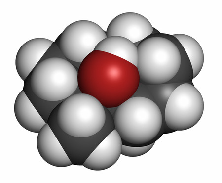 Geosmin earthy flavor molecule. Responsible for the typical taste of beetroot. 3D rendering. Atoms are represented as spheres with conventional color coding: hydrogen (white), carbon (grey), oxygen (red). Stock Photo