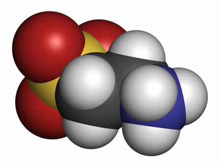 hydrogen: Taurine (2-aminoethanesulfonic acid) molecule. Common ingredient of energy drinks and nutritional supplements. 3D rendering. Atoms are represented as spheres with conventional color coding: hydrogen (white), oxygen (red), nitrogen (blue) sulfur (yellow). Stock Photo