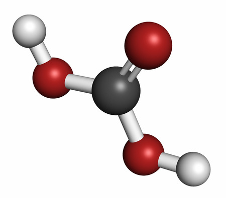 carbonic: Carbonic acid molecule. Formed when carbon dioxide is dissolved in water (carbonated water). 3D rendering. Atoms are represented as spheres with conventional color coding: hydrogen (white), carbon (grey), oxygen (red).