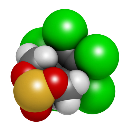 Endosulfan insecticide molecule. Banned in many countries due to toxicity. 3D rendering. Atoms are represented as spheres with conventional color coding: hydrogen (white), carbon (grey), oxygen (red), chlorine (green), sulfur (yellow).