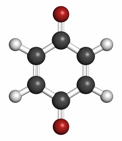 Benzoquinone (quinone, para-benzoquinone) molecule. 3D rendering. Atoms are represented as spheres with conventional color coding: hydrogen (white), carbon (grey), oxygen (red).