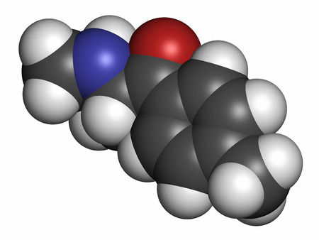 euphoria: Mephedrone (4-MMC, 4-methylmethcathinone, 4-methylephedrone) stimulant drug molecule (designer drug). 3D rendering. Atoms are represented as spheres with conventional color coding: hydrogen (white), carbon (grey), oxygen (red), nitrogen (blue).
