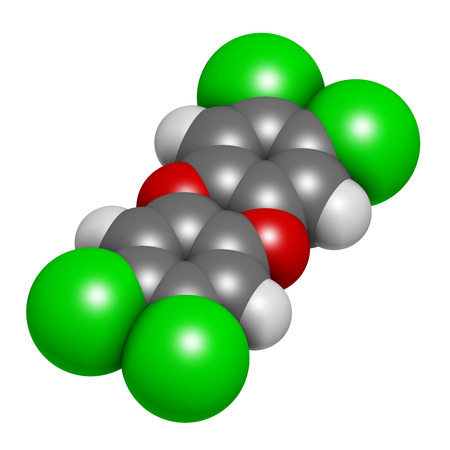 acetic acid: 2,4,5-trichlorophenoxyacetic acid (2,4,5-T) herbicide molecule. Ingredient of Agent Orange. 3D rendering. Atoms are represented as spheres with conventional color coding: hydrogen (white), carbon (grey), oxygen (red), chlorine (green).