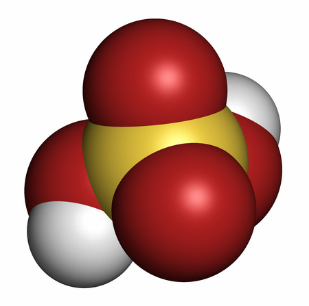 sulphuric acid: Sulfuric acid (H2SO4) strong mineral acid molecule. 3D rendering. Atoms are represented as spheres with conventional color coding: hydrogen (white), oxygen (red), sulfur (yellow). Stock Photo