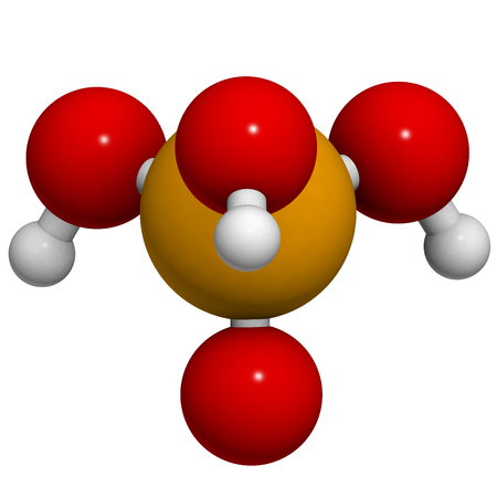 phosphate: Phosphoric acid mineral acid molecule. Used in fertilizer production, biological buffers, as food additive, etc. 3D rendering. Atoms are represented as spheres with conventional color coding: hydrogen (white), oxygen (red), phosphorus (orange).