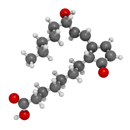 a1: Prostaglandin A1 molecule. 3D rendering. Atoms are represented as spheres with conventional color coding: hydrogen (white), carbon (grey), oxygen (red).