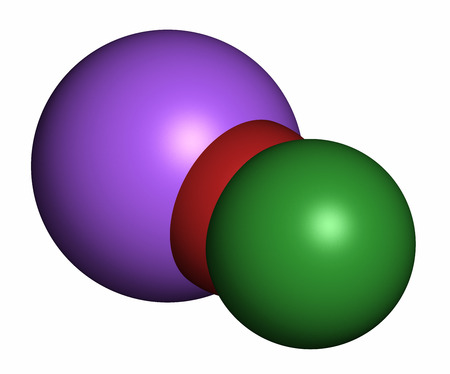 bleach: Sodium hypochlorite (NaOCl) molecule. Aqueous solution is known as (liquid) bleach. 3D rendering. Atoms are represented as spheres with conventional color coding: chlorine (green), oxygen (red), sodium (purple).