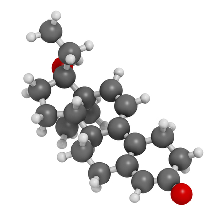 progesterone: Tetrahydrogestrinone (THG) anabolic steroid molecule. 3D rendering. Atoms are represented as spheres with conventional color coding: hydrogen (white), carbon (grey), oxygen (red).