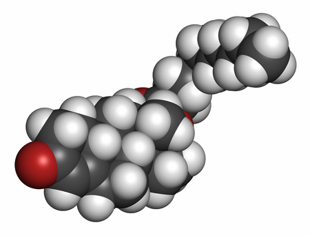 Nandrolone decanoate anabolic steroid drug molecule. Also used in sports doping. 3D rendering. Atoms are represented as spheres with conventional color coding: hydrogen (white), carbon (grey), oxygen (red).