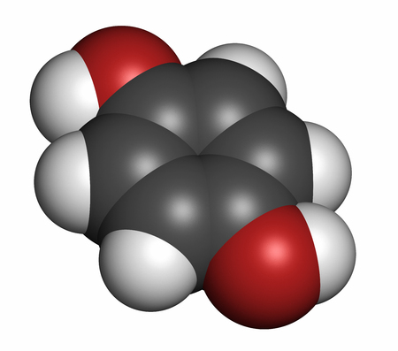 para: Hydroquinone reducing agent molecule. Used in development of photographic film. 3D rendering. Atoms are represented as spheres with conventional color coding: hydrogen (white), carbon (grey), oxygen (red).