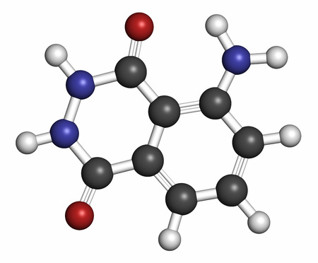 Luminol chemiluminescent molecule. Used to detect blood at crime scenes. 3D rendering. Atoms are represented as spheres with conventional color coding: hydrogen (white), carbon (grey), oxygen (red), nitrogen (blue).