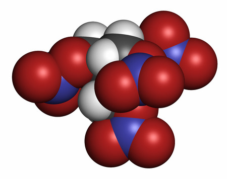 Pentaerythritol tetranitrate (PETN) explosive molecule. Also used as angina drug (nitrate class). 3D rendering. Atoms are represented as spheres with conventional color coding: hydrogen (white), carbon (grey), oxygen (red), nitrogen (blue). Stock Photo