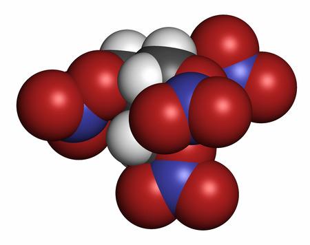 angor: Tetranitrato de pentaeritritol (PETN) molécula explosiva. También se usa como fármaco angina de pecho (clase nitrato). representación 3D. Los átomos se representan como esferas con codificación de colores convencionales: hidrógeno (blanco), carbono (gris), oxígeno (rojo), nitrógeno (azul).