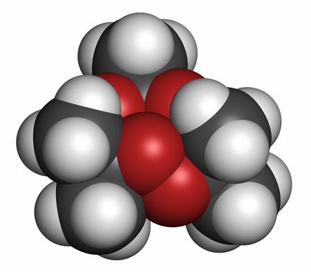Triacetone triperoxide (TATP, acetone peroxide) explosive molecule. 3D rendering. Atoms are represented as spheres with conventional color coding: hydrogen (white), carbon (grey), oxygen (red). Stock Photo