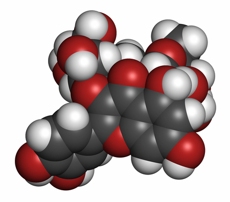 ruta: Rutin (rutoside, sophorin) molecule. Herbal glycoside composed of quercetin and rutinose. 3D rendering. Atoms are represented as spheres with conventional color coding: hydrogen (white), carbon (grey), oxygen (red). Stock Photo