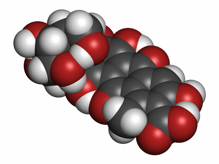 Carminic acid pigment molecule. Occurs naturally in cochineal (scale insect). 3D rendering. Atoms are represented as spheres with conventional color coding: hydrogen (white), carbon (grey), oxygen (red). Stock Photo