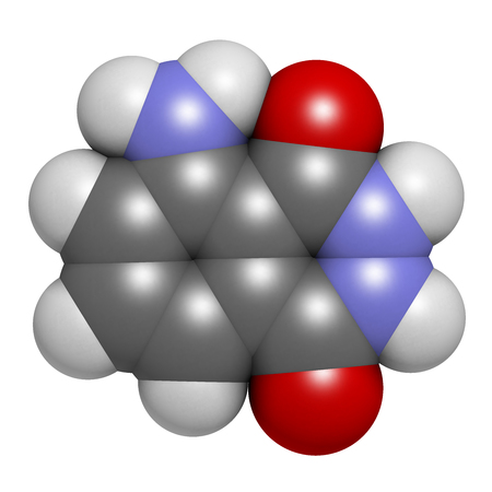 oxidizing: Luminol chemiluminescent molecule. Used to detect blood at crime scenes. 3D rendering. Atoms are represented as spheres with conventional color coding: hydrogen (white), carbon (grey), oxygen (red), nitrogen (blue).