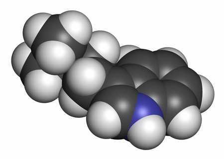 divination: Dimethyltryptamine (DMT) psychedelic drug molecule. Present in the drink ayahuasca. 3D rendering. Atoms are represented as spheres with conventional color coding: hydrogen (white), carbon (grey), nitrogen (blue).