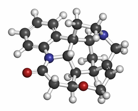 poisonous: Strychnine poisonous alkaloid molecule. Isolated from Strychnos nux-vomica tree. 3D rendering. Atoms are represented as spheres with conventional color coding: hydrogen (white), carbon (grey), oxygen (red), nitrogen (blue).