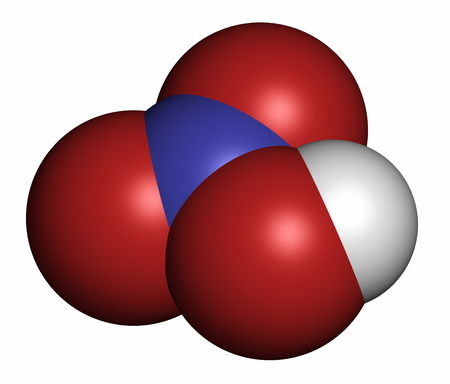 atomic bomb: Nitric acid (HNO3) strong mineral acid molecule. Used in production of fertilizer and explosives. 3D rendering. Atoms are represented as spheres with conventional color coding: hydrogen (white), oxygen (red), nitrogen (blue).