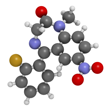 Flunitrazepam hypnotic drug molecule. 3D rendering. Atoms are represented as spheres with conventional color coding: hydrogen (white), carbon (grey), oxygen (red), nitrogen (blue), fluorine (gold). Stock Photo