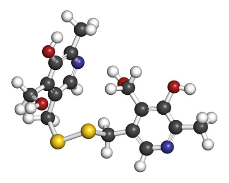 disturbance: Pyritinol (pyridoxine disulfide) cognitive and learning disorder drug molecule. Also used in nootropic dietary supplements. 3D rendering. Atoms are represented as spheres with conventional color coding: hydrogen (white), carbon (grey), oxygen (red), nitro