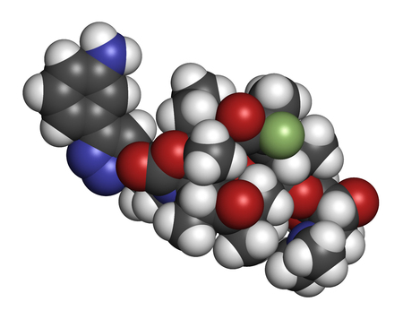 Solithromycin antibiotic drug molecule. 3D rendering. Atoms are represented as spheres with conventional color coding: hydrogen (white), carbon (grey), nitrogen (blue), oxygen (red), fluorine (light green).