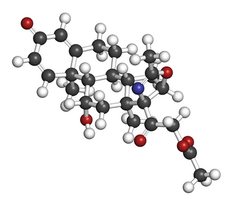 immunosuppressant: Deflazacort glucocorticoid drug molecule. 3D rendering. Atoms are represented as spheres with conventional color coding: hydrogen (white), carbon (grey), nitrogen (blue), oxygen (red).