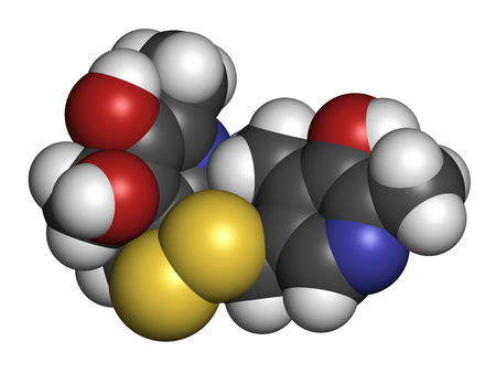 disulfide: Pyritinol (pyridoxine disulfide) cognitive and learning disorder drug molecule. Also used in nootropic dietary supplements. 3D rendering. Atoms are represented as spheres with conventional color coding: hydrogen (white), carbon (grey), oxygen (red), nitro