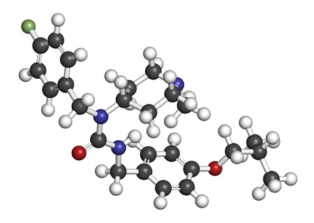atypical: Pimavanserin atypical antipsychotic drug molecule. 3D rendering. Atoms are represented as spheres with conventional color coding: hydrogen (white), carbon (grey), nitrogen (blue), oxygen (red), fluorine (light green).