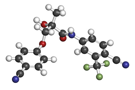 modulator: Enobosarm drug molecule. Selective androgen receptor modulator (SARM) that is also used in sports doping. 3D rendering. Atoms are represented as spheres with conventional color coding: hydrogen (white), carbon (grey), nitrogen (blue), oxygen (red), fluori Stock Photo