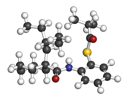 genotype: Dalcetrapib hypercholesterolemia drug molecule. 3D rendering. Atoms are represented as spheres with conventional color coding: hydrogen (white), carbon (grey), nitrogen (blue), oxygen (red), sulfur (yellow).