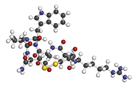 pci: Eptifibatide anticoagulant drug molecule. 3D rendering. Atoms are represented as spheres with conventional color coding: hydrogen (white), carbon (grey), nitrogen (blue), oxygen (red), sulfur (yellow).