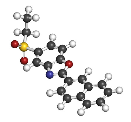 dystrophy: Ezutromid Duchene muscular dystrophy drug molecule. Activator of utrophin. 3D rendering. Atoms are represented as spheres with conventional color coding: hydrogen (white), carbon (grey), nitrogen (blue), oxygen (red), sulfur (yellow).